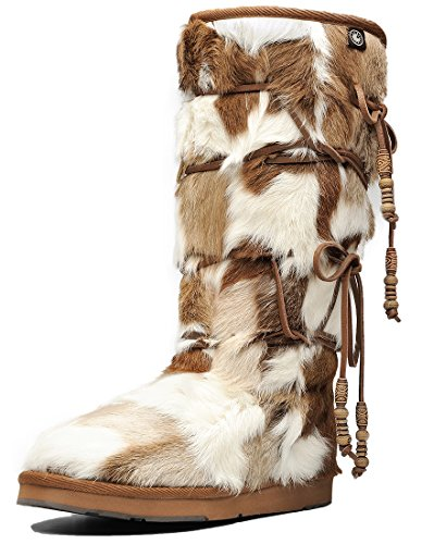 Aumu Women Tradional Wooden Bead String Sheepskin Fur Shearling Stylish Knee High Winter Snow Boots Chestnut Size 9