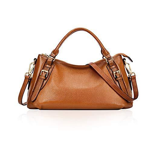 Kattee Women's Soft Genuine Leather Crossbody Bags Ladies Designer Purses Medium Size Hobo Handbags Top Handle (Sorrel)