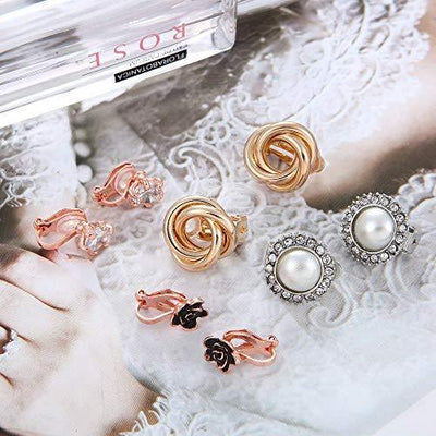 8 Pairs Clip Earrings for Women Set Rose Flower Simulated Pearl Twist Knot Sparkly Cubic Zirconia Crystal Round Non Pierced Clip On Stud Earrings
