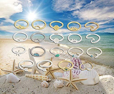 19pcs Silver Star Moon Knuckle Ring Set for Women Girls Vintage Stackable Midi Finger Rings Set