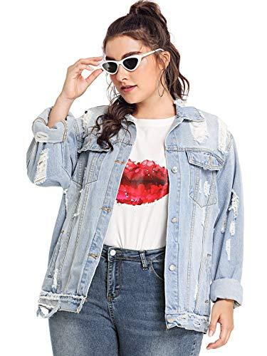 Floerns Women's Plus Size Ripped Distressed Long Sleeve Denim Jacket A-Blue 3XL