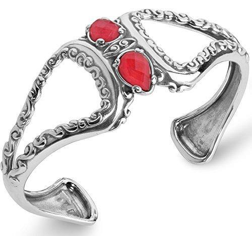 Carolyn Pollack Sterling Silver Red Coral Gemstone Doublet Cuff Bracelet Size Small