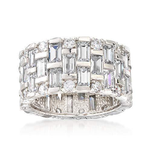 Ross-Simons 5.50 ct. t.w. Baguette and Round CZ Eternity Band in Sterling Silver For Women 925