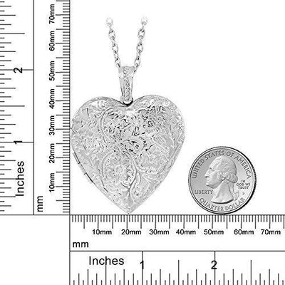 Gem Stone King Locket Pendant Necklace Charm 1.5inches Engraved Flowers Heart Shape + 28 Inch Chain