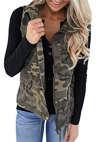 Tutorutor Women's Military Safari Vest Utility Lightweight Sleeveless Camo Hooded Drawstring Jackets with Pocket