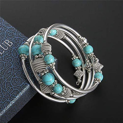 PEARL&CLUB Beaded Chakra Bangle Turquoise Bracelet - Fashion Jewelry Wrap Bracelet with Thick Silver Metal and Mala Beads, Birthday Gifts for Women (A:Turquoise)