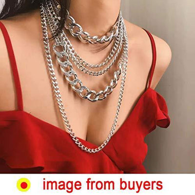 CIBIRICH Chunky Necklaces for women Punk Chain Silver Statement Collar Necklace
