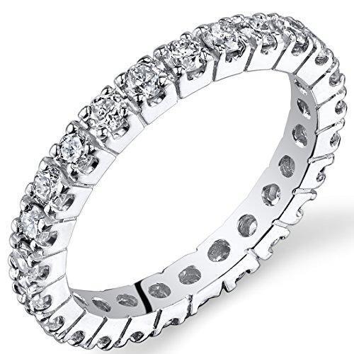 Peora Lab Grown Diamond 1 Carat Total Eternity Ring in 14K White Gold, Round Shape, E-F Color SI Clarity, Luxury Band for Women, 2mm width, Size 4