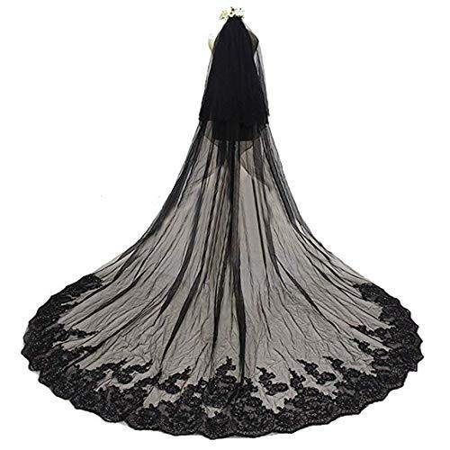 Alicebridal Womens 2 Tiers Wedding Veil Long for Bride Sequin Lace 3M Bridal Veils Black