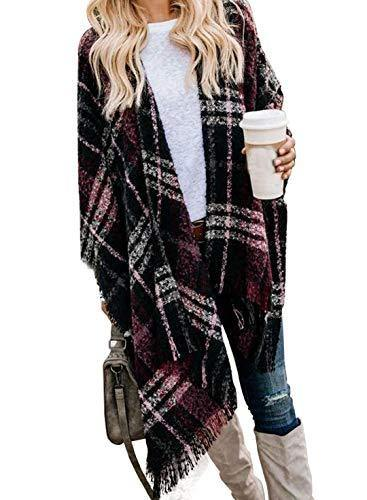 Women Buffalo Plaid Blanket Poncho Plus Size Fleece Kimono Sweaters Knit Fringe Shawl Wraps Warm Capes