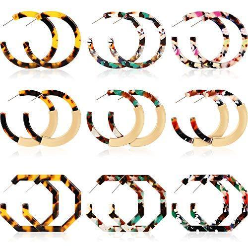 Yaomiao 9 Pairs Women Acrylic Earrings Geometric Resin Hoop Earrings Bohemia Statement Earrings Mottled Tortoise Shell Ear Jewelry for Daily Usage