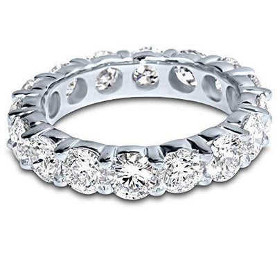 5 Carat (ctw) 14K White Gold Round Diamond Ladies Eternity Wedding Anniversary Stackable Ring Band Premium Collection