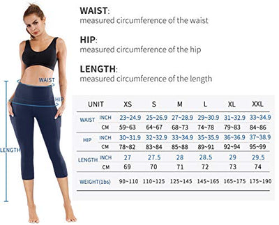 PHISOCKAT High Waist Capris Yoga Pants with Pockets, Tummy Control Workout 4 Way Stretch Capris Yoga Leggings (Capris (Navy Blue), Large)