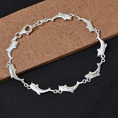 Dolphin Link Bracelet 925 Sterling Silver Fashion Jewelry for Women Gifts for Her Size 7.25""