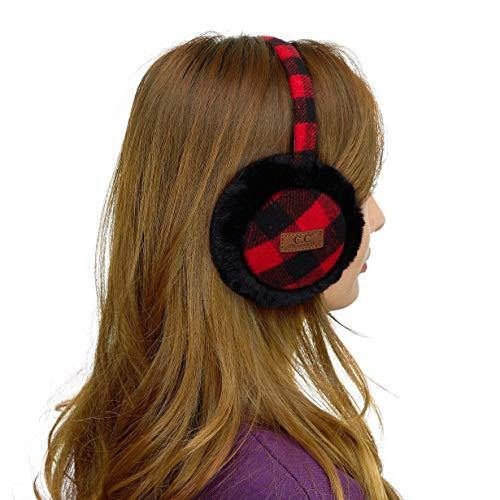 C.C Exclusives Tartan Check Earmuff with Faux Fur(EM-2380) (Red/Black)