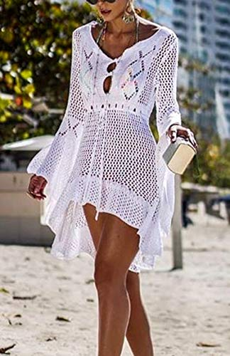 Wander Agio Beach Tops Sexy Floral Cover Dresses Bikini Cover-ups Net Hollow Out White
