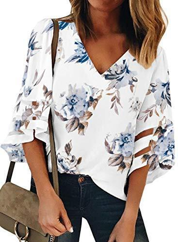 BLENCOT Women's Casual V Neck Floral Sheer Panel 3/4 Bell Sleeve Chiffon Blouse Loose Shirts Tops White L - PRTYA
