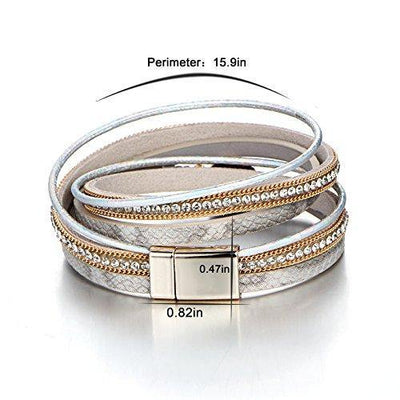 FINETOO Multi-Layer Wrap Leather Bracelet Handmade Braided - with Magnetic Clasp Cuff Bangle Bracelet Jewelry for Women, Girl Gift