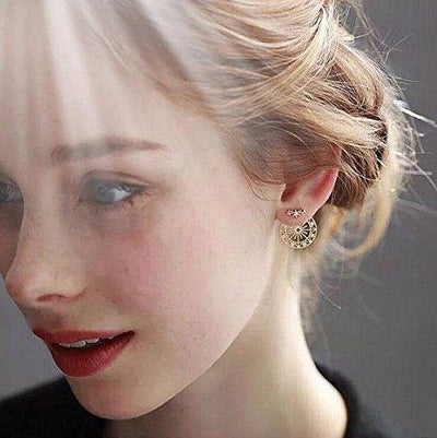 Eoumy Women Star Sun Ear Jacket Earrings for Women Hollow Out Round Constellation Dangle Crystal Star Stud Earrings