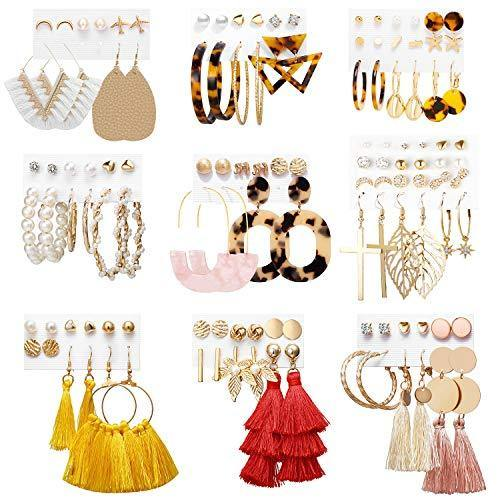 Earrings Set for Women Girls, Funtopia 61 Pairs Fashion Tassel Earrings Acrylic Hoop Stud Drop Dangle Earrings for Birthday Party Gift, Assorted Styles and Colors