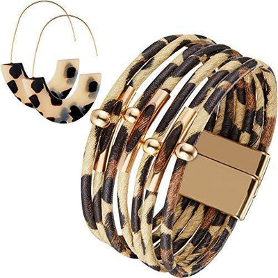 Hicarer Leopard Bracelets Leopard Tube Bracelet Multilayer Leather Cuff Bracelet and Boho Leopard Earrings for Women Girls (Beige)