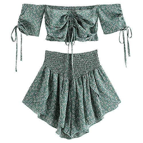 ZAFUL Women's Two Piece Off Shoulder Floral Smocked Crop Top and Shorts Set (A-Light Green, S)
