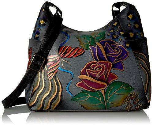 Anna by Anuschka womens Large Multi Pocket Hobo Handbag Genuine Leather, Rose Safari Grey, No Size US