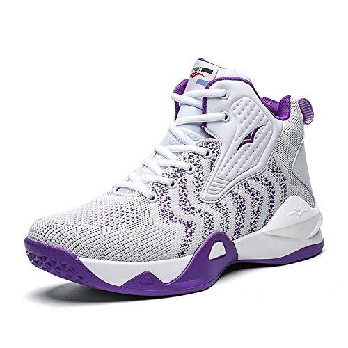 WELRUNG Women's High Top Lightweight Fly-Weaving Running Jogging Sneakers Basketball Shoes for Youth Size 6 White Purple - PRTYA