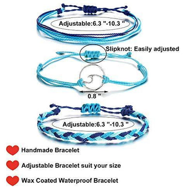 choice of all 3 Pcs Summer Surfer Wave Bracelet Adjustable Friendship Bracelet Handcrafted Jewelry Women (B:blue)