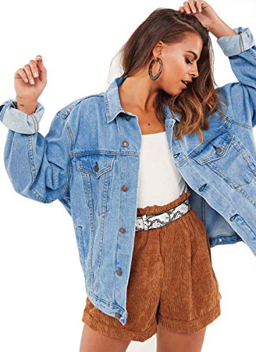 Oversized Denim Jacket for Women Long Sleeve Classic Loose Jean Trucker Jacket (XL, Light blue washed)