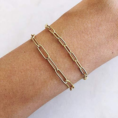 Oval Cable Link Bracelet Simple Chain Bracelet Gold Stacking Bracelet With Square Charm Dainty Bracelet Women Jewelry