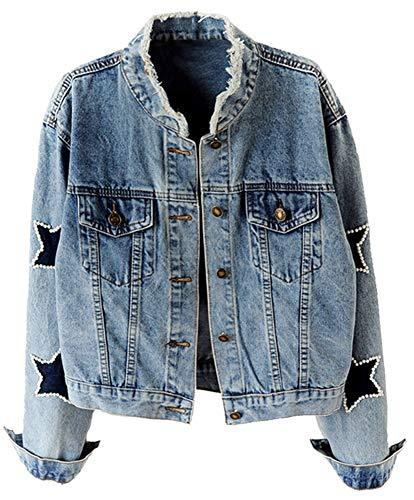 Kedera Women's Star Embroidered Rivet Pearl Denim Jacket Coat (Blue, Medium)
