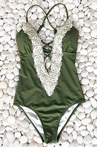 Cupshe Fashion Women s Ladies Vintage Lace Bikini Sets Beach Swimwear Bathing Suit  L  Green - PRTYA
