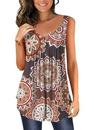 Women Trendy Casual Cami Shirt Sleeveless Tank Top Basic Lace Neck Blouse Brown XL