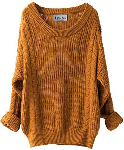 Liny Xin Women's Cashmere Oversized Loose Knitted Crew Neck Long Sleeve Winter Warm Wool