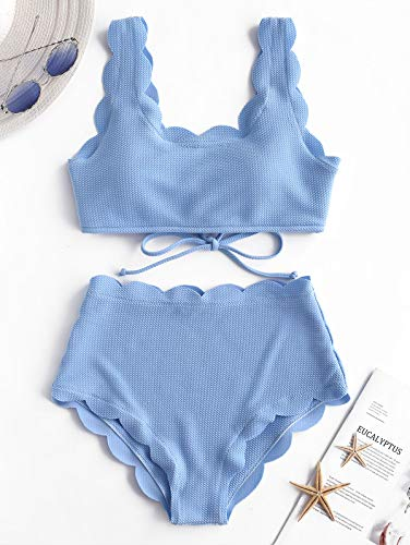 ZAFUL Women's Scalloped Textured Swimwear High Waisted Wide Strap Adjustable Back Lace-up Bikini Set Swimsuit Day Sky Blue S