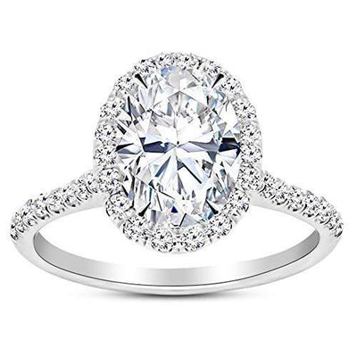 1 Ctw Oval Cut Halo 14K White Gold Diamond Engagement Ring (H-I Color SI2-I1 Clarity 0.75 Ct Center)
