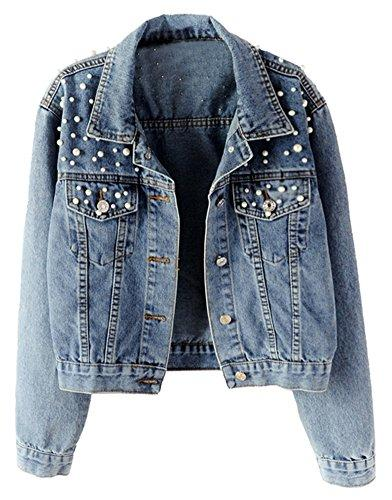 LifeShe Women's Embroidered Pearl Denim Jean Jacket Coat (Blue, M)