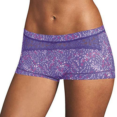 Maidenform Women's Dream Boyshort Panty, Multi Floral Print/Steel Blue, 8