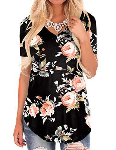 Women T-Shirt for Shorts V-Neck Short Sleeve Black Floral Tops Plus Size Tees
