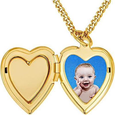 Lifetime Jewelry Locket Necklace [ Inlaid Heart Gold Locket ] 20X More 24k Plating Than Other Photo Lockets - Heart Pendant for Women Girls and Kids with Complimentary 18 inch Link Chain Necklace