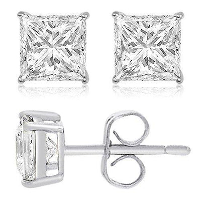 TIONEER Sterling Silver Cubic Zirconia Princess-Cut Solitaire Stud Earrings for Women and Men, Butterfly Push-Back, 5mm