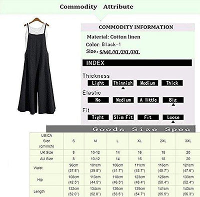Aedvoouer Women's Baggy Plus Size Overalls Cotton Linen Jumpsuits Wide Leg Harem Pants Casual Rompers (A-Suspender Black, Medium) - PRTYA