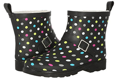 Capelli New York Ladies Multi Dot Printed Short Sporty Lined Rainboot Black Combo 8