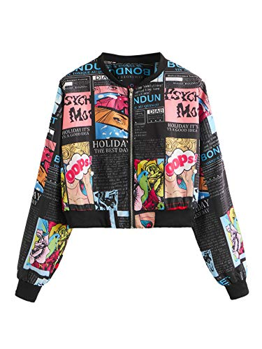 SheIn Women's Fashion Long Sleeve Pop Art Print Zip Up Bomber Jacket Multicoloured#2 Small