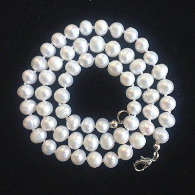 Natural A+ Quality Round White Cultured Freshwater Pearl Necklace 16 inch Jewelry for Women Girls Mom Gift pn2-16-67