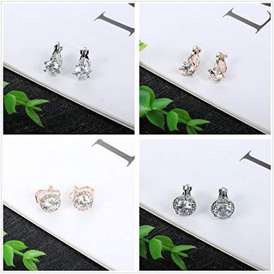 Sailimue 6 Pairs Clip On Earring For Women Cubic Zirconia Non Pierced Earring Round Square Clip Earrings Jewelry Sets Silver-Tone Rose Gold