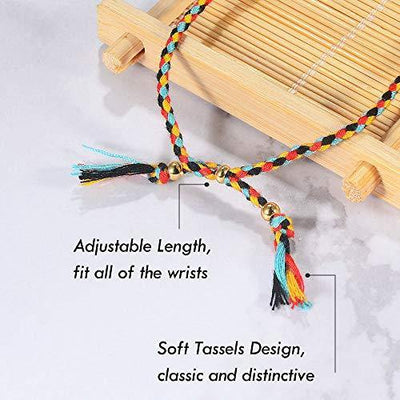 Jeka Handmade Wrap Friendship Braided Bracelet for Women Girls - 10Pcs Colorful Wrist Cord Rope Adjustable Boho Birthday Gifts-Party Favors