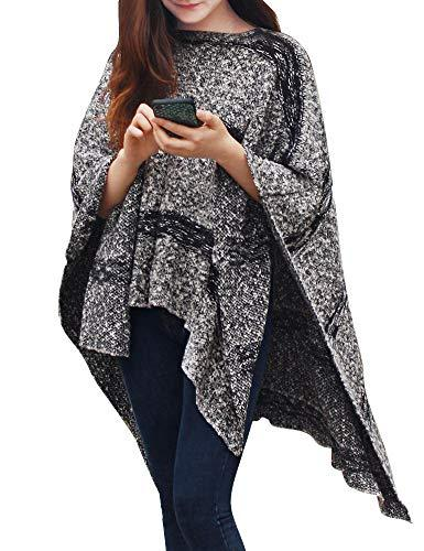 DELUXSEY Striped Knit Ponchos for Women - Sweaters Pullover, Heather Grey, S-M - PRTYA