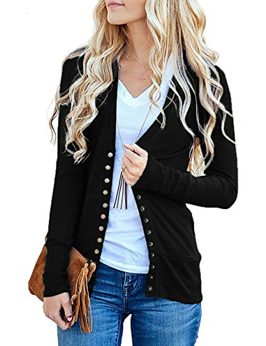 Traleubie Women's Long Sleeve V-Neck Button Down Knit Open Front Cardigan Sweater Black L